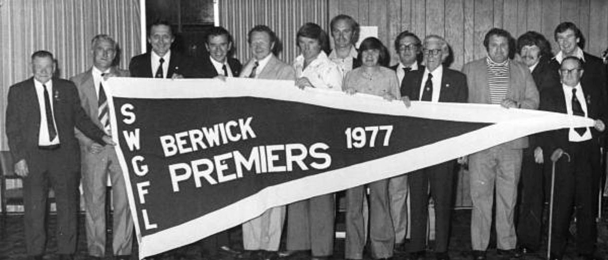 Left to Right: Arch Brown, Dick Aisbett (President of SWGFL), Barry Johnson (President Berwick FC), Jim Hower (Secretary Berwick FC), Cr Ron Irwin (V-Pres. Berwick FC. President 1978 Premiership), Jim 'Frosty' Miller, (Senior player -Kicked 202 goals in 1977), Alan Moulden, John Wright (BFC Treasurer), Lyle McGill (B.F.C J/Vice President), Frank Elliott (Past President BFC and then VCFL District Delegate), Peter Robinson (Team Manager for BFC and Trainer SWGFL), John Callery (Senior Player, B & F), Daryl Nisbett (Senior Coach 1977 – 1980), Bill Williamson (Life Member of BFC, SWGFL and VCFL).
