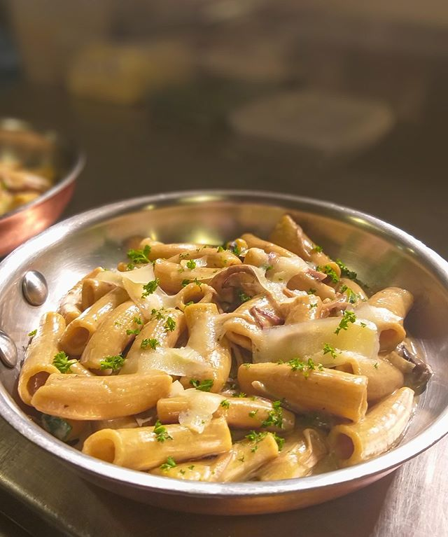 On the menu this week! Black garlic cream Rigatoni with zucchini, mushrooms, red onions and parmesan.