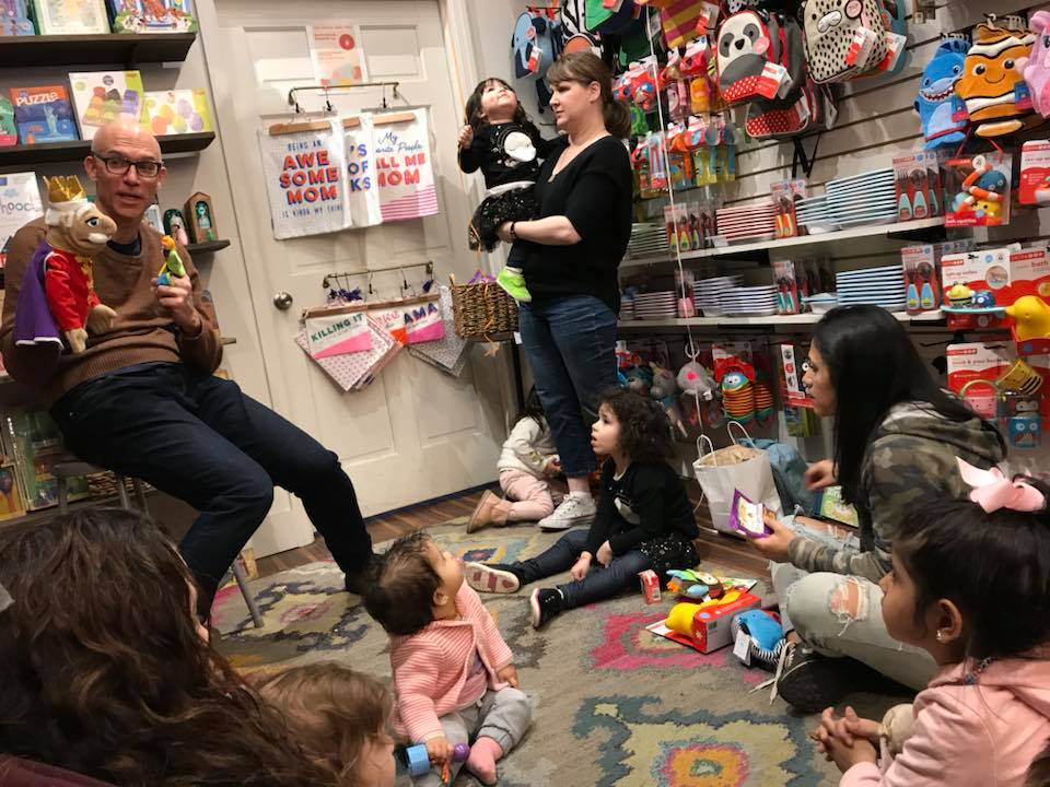 "Lockwood gift shop in Jackson Heights had a ""Kids' Rule"" party, and Paul from Firefly told the story with puppets! March 2018."