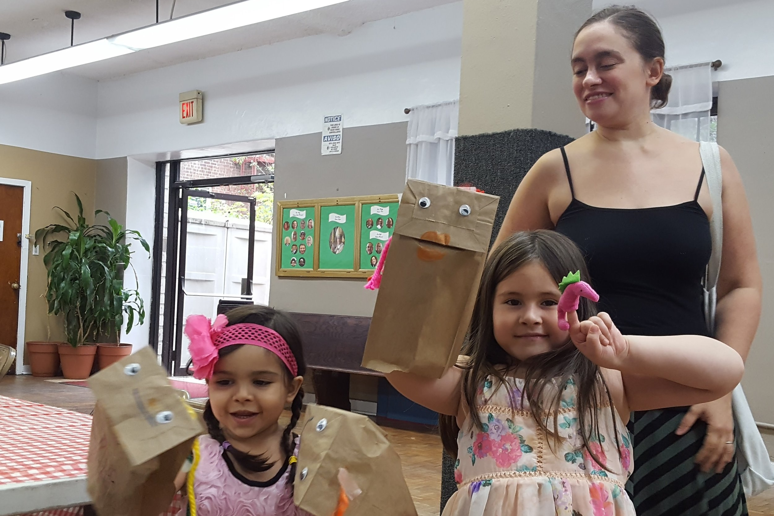Firefly hosts a collage party, all supplies provided -- and kids also get to make paper-bag puppets! August 2017.