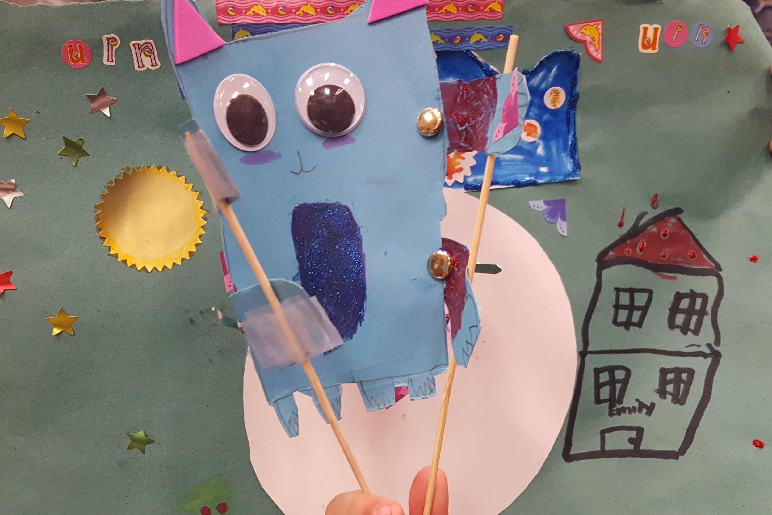 Over the course of three days, 4th-, 5th-, and 6th-graders at a local school made their own planets, and puppets of the creatures who live there! Then they created voices and made a video of their new solar system! May 2018.
