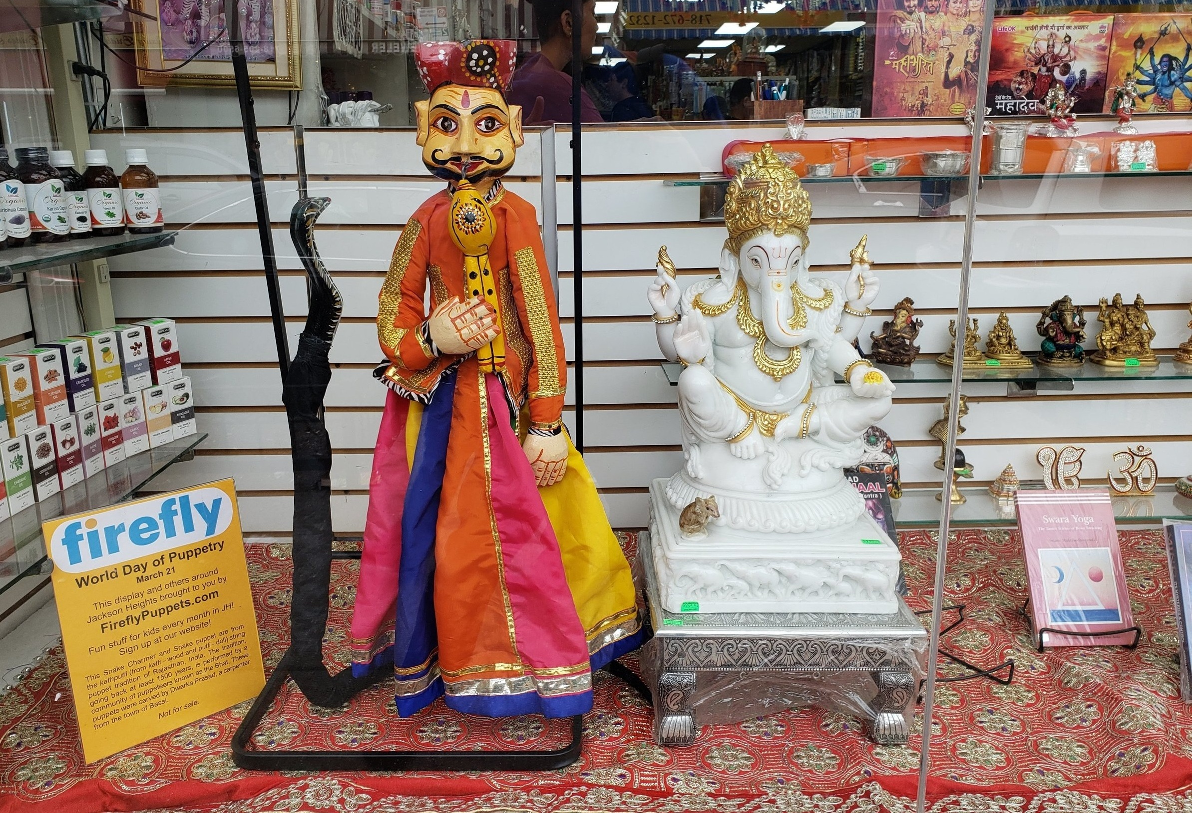Firefly worked with stores around Jackson Heights to display puppets from 5 continents March 16-24, which included World Day of Puppetry on March 21st!