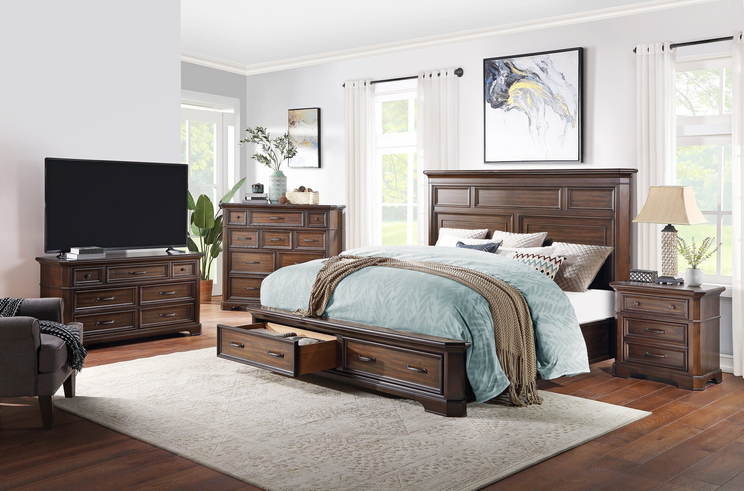 Universal Furniture Broadmoore Queen Bed With Storage Drawer