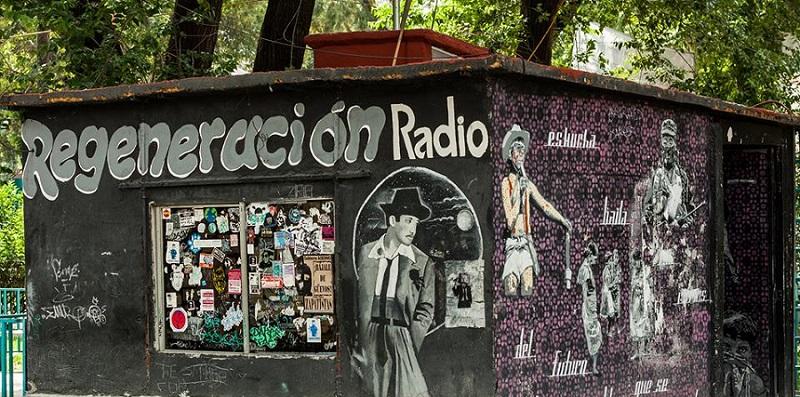 Regeneración Radio's studio, built DIY directly in front of the Principal's office on the Senior High School campus CCH Vallejo, in the north of Mexico City. Photo attributed to Regeneración Radio.
