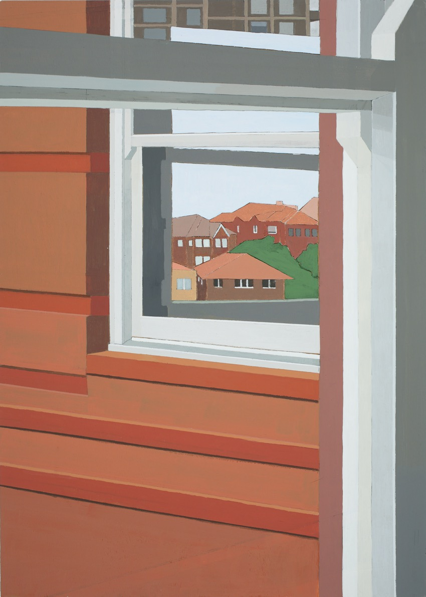 Inside and Out, Acrylic, canvas, collage on board, 75.5 x 54cm, 2014