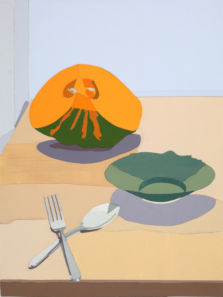 Pumpkin, Acrylic on paper, collage  on board, 47.5 x 36cm, 2011