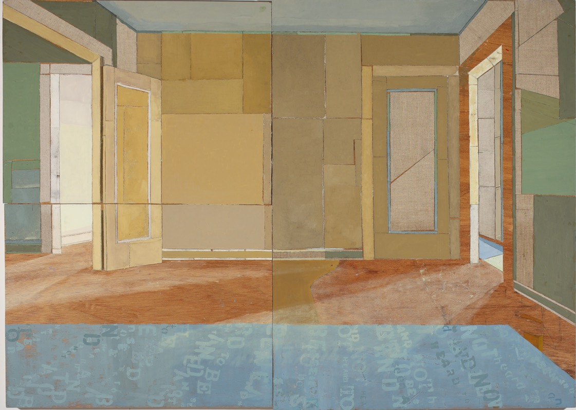 To Be Seen and Not Heard, Oil, canvas, collage, mixed media on three boards, 120 x 170cm, 2007