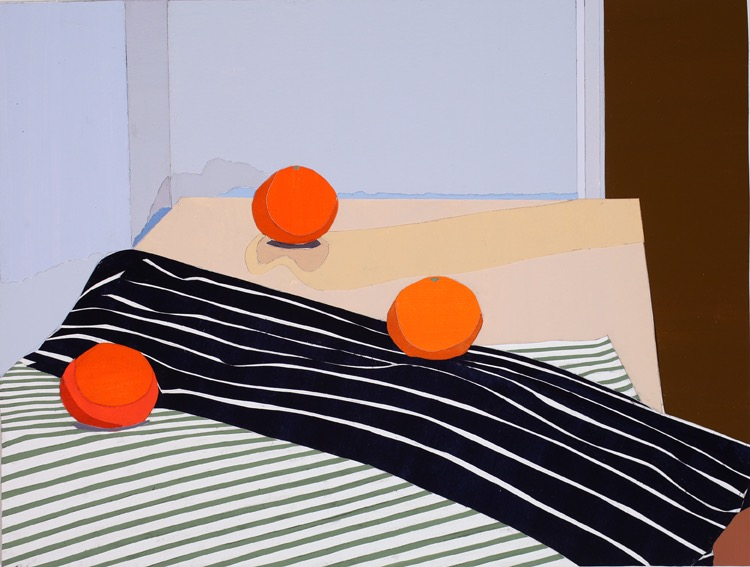 Stripes, Acrylic on paper, collage on board, 36 x 47.5cm, 2011