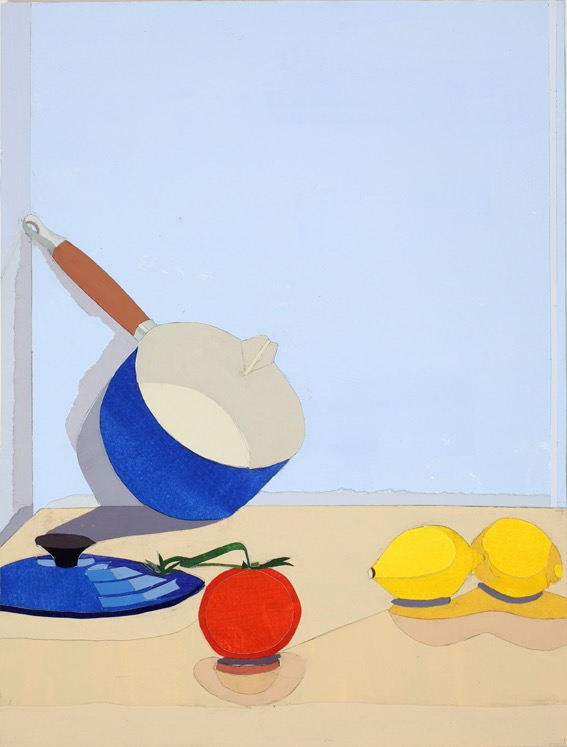 Pot with Lid, Acrylic on paper, collage on board, 47.5 x 36cm, 2011