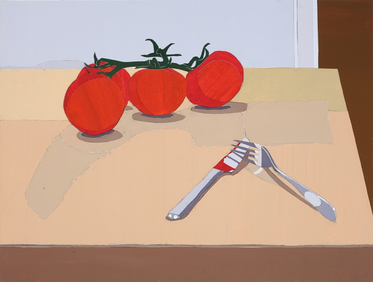 Knife and Fork, Acrylic on paper, collage on board, 36 x 47.5cm, 2011