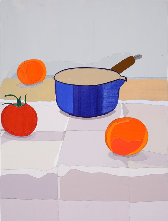 Oranges, Acrylic on paper, collage on board, 47.5 x 36cm, 2011