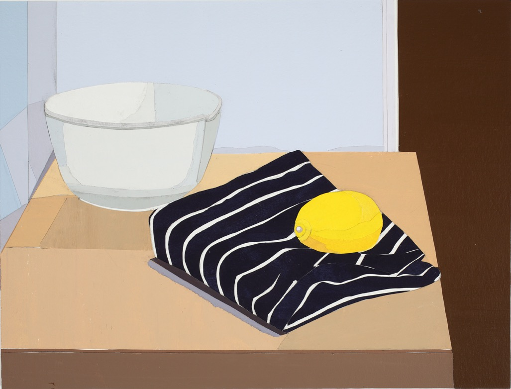 Mixing Bowl, Acrylic on paper, collage on board, 36 x 47.5cm, 2011