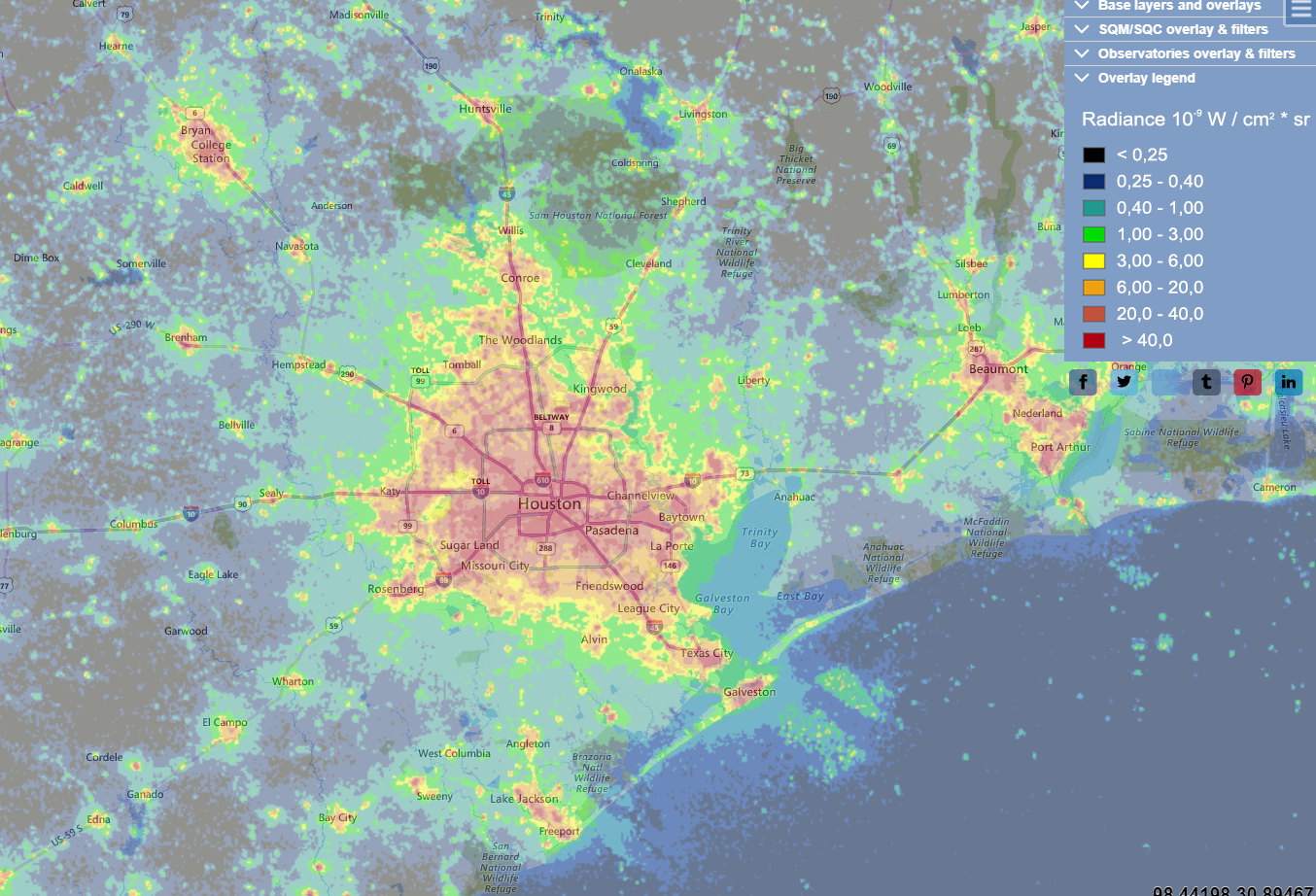 Light Pollution Map of Houston