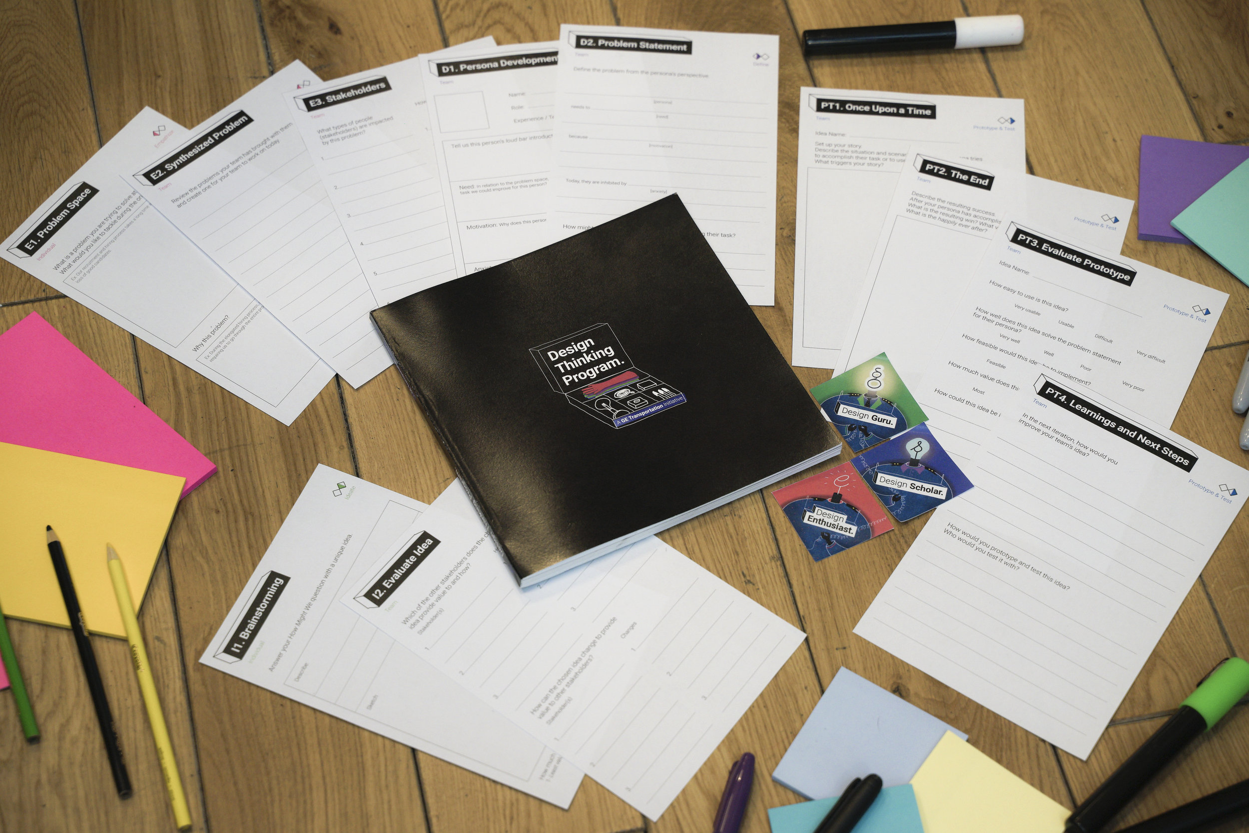 To augment the program we created a book, detailed agenda's for the 1-day workshop and 2-week immersive, worksheets and certification stickers.