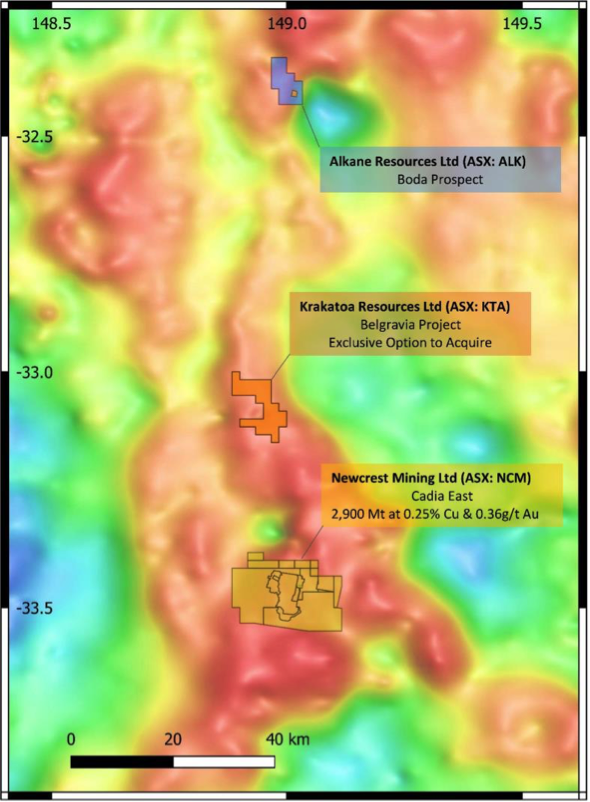 Figure 1 – Project Location over Gravity Map