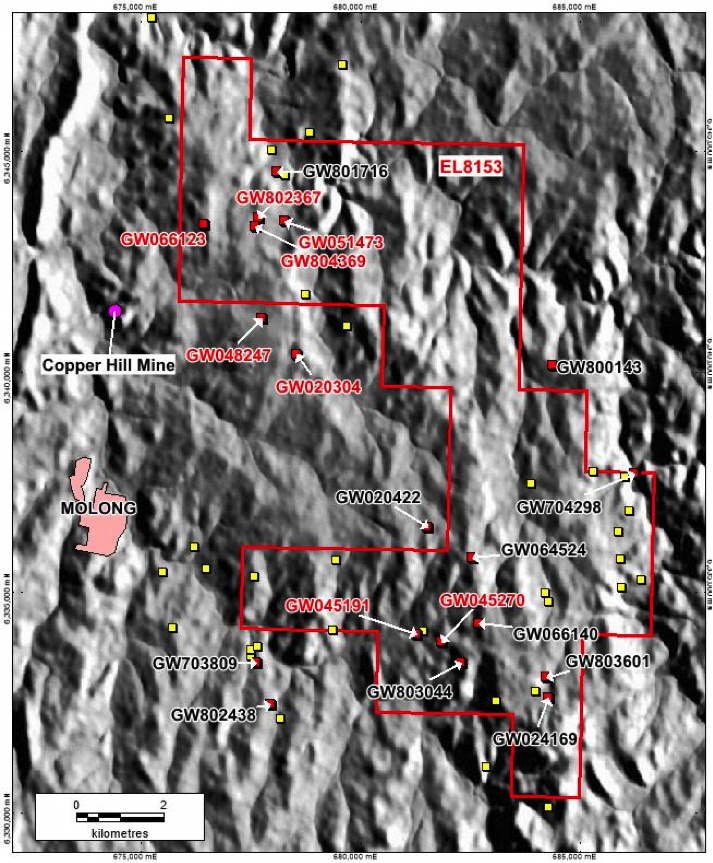 Figure 5 – Borehole locations: Belgravia Project.  Red text and red square interpreted as CHIC in the NW, in the south interpreted as intrusive volcanics by Vendor from the original logs; black text and red square interpreted and logged as various lithologies, including limestone and ironstones, by the Developer; Yellow squares are bores missing logging information.