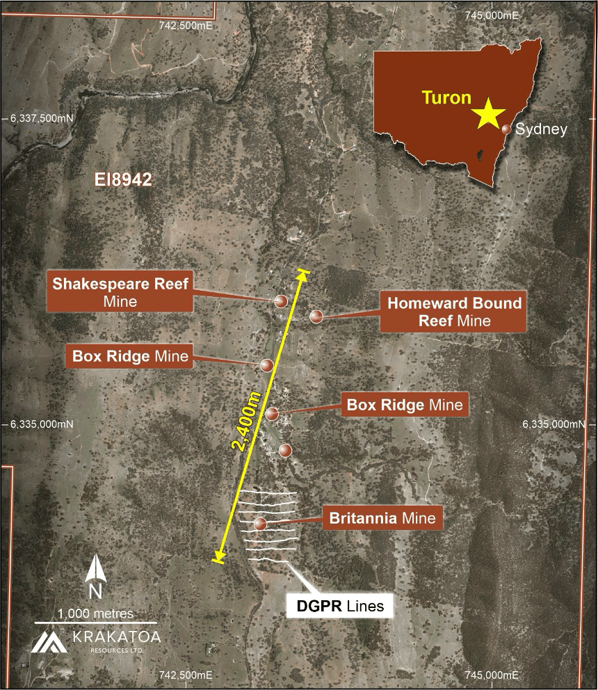 Figure 1 - Britannia Mine and DGPR Survey area, Turon Project.