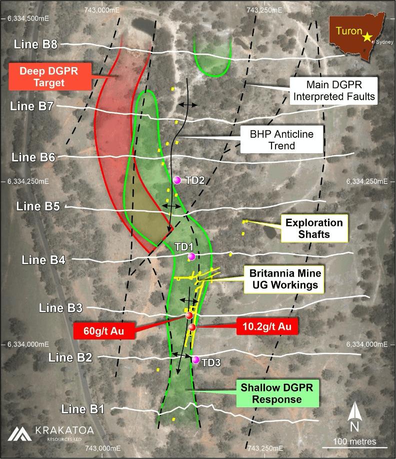 Figure 2 - Britannia Mine DGPR Survey interpretation, Turon Project.