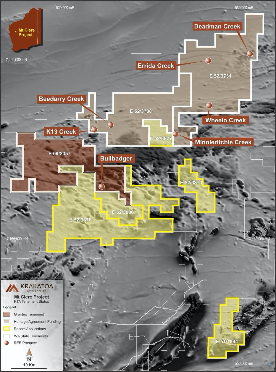 Figure 1.  Krakatoa exploration licence and applications within the Narryer Terrane, Mt Clere Project Gascoyne Region, Western Australia.