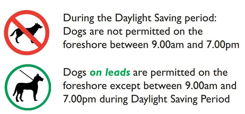 All times outside daylight savings period, dogs must be on a lead.
