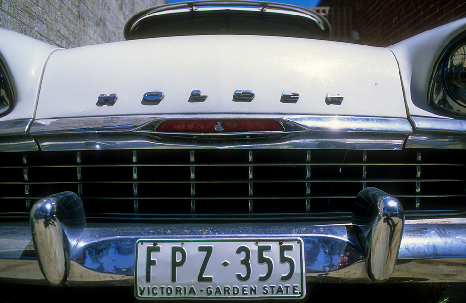 Front of an old holden classic car no 2 (horizontal) in Fitzroy, Melbourne, VIC. Australia. 2002 NON LP.jpg