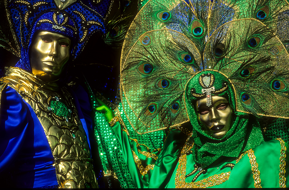 Portrait of BLUE & GREEN x2 venetian Carnivale costume  at Carnivale, Venice, Italy 1999 (LC).jpg