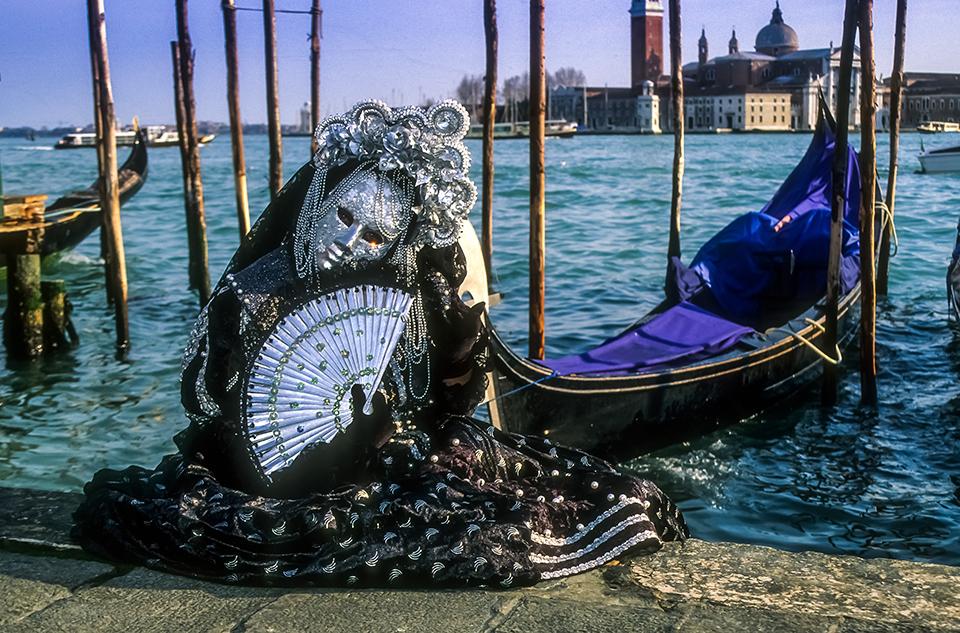 Portrait of GREY & BLACK venetian Carnivale costume  by gondola at Carnivale, Venice, Italy 1999 (LC).jpg