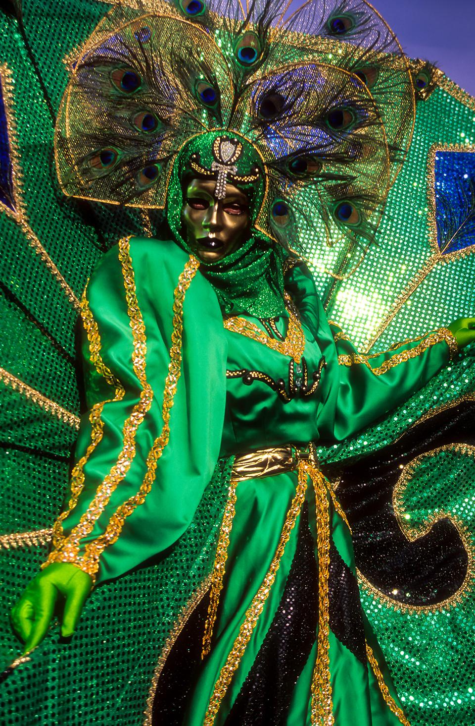 Portrait of GREEN V3 venetian Carnivale costume  at Carnivale, Venice, Italy 1999 (LC).jpg