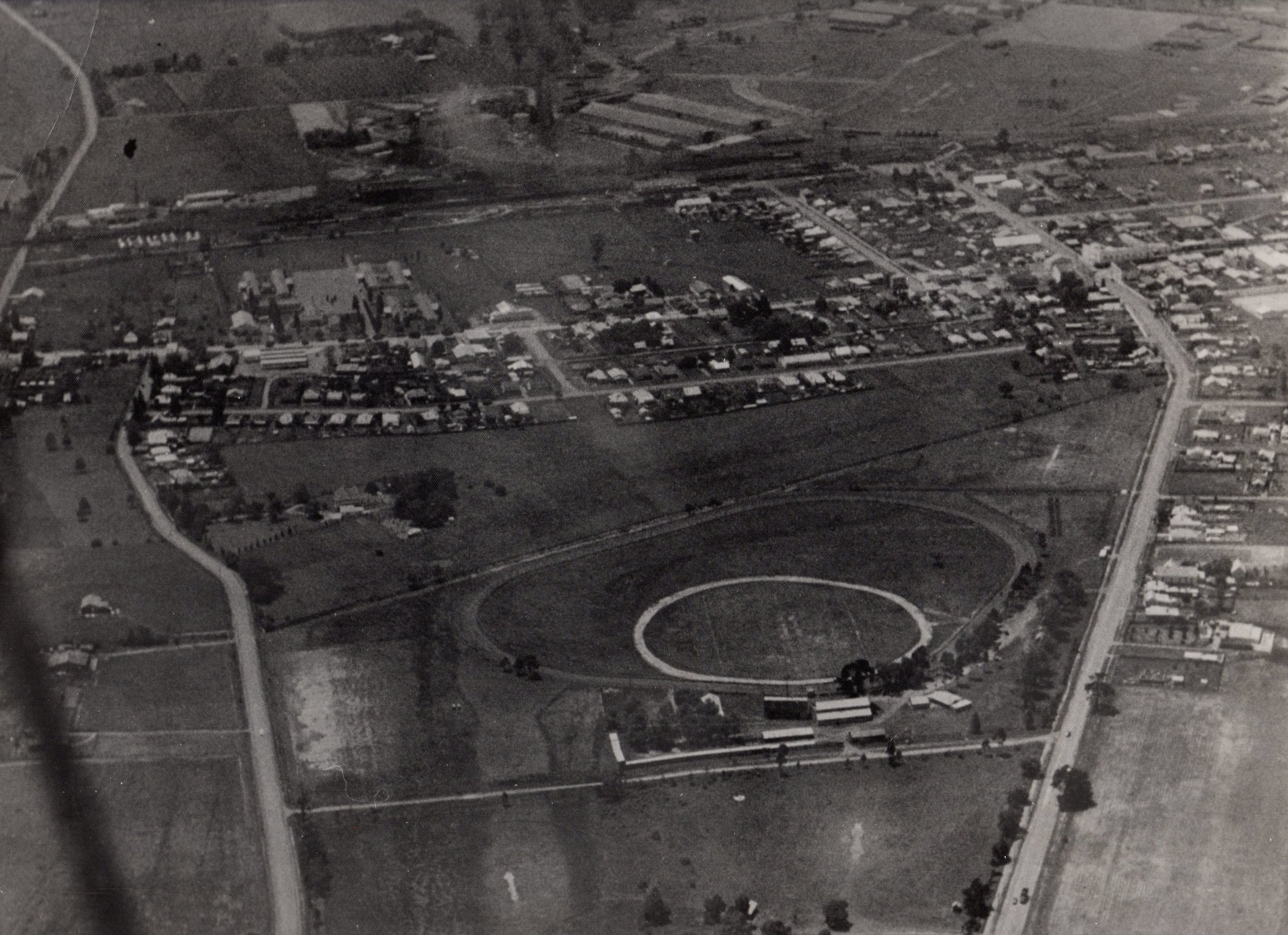 Penrith Paceway aerial photo 1964.  Note the vacant land -  how Penrith has changed