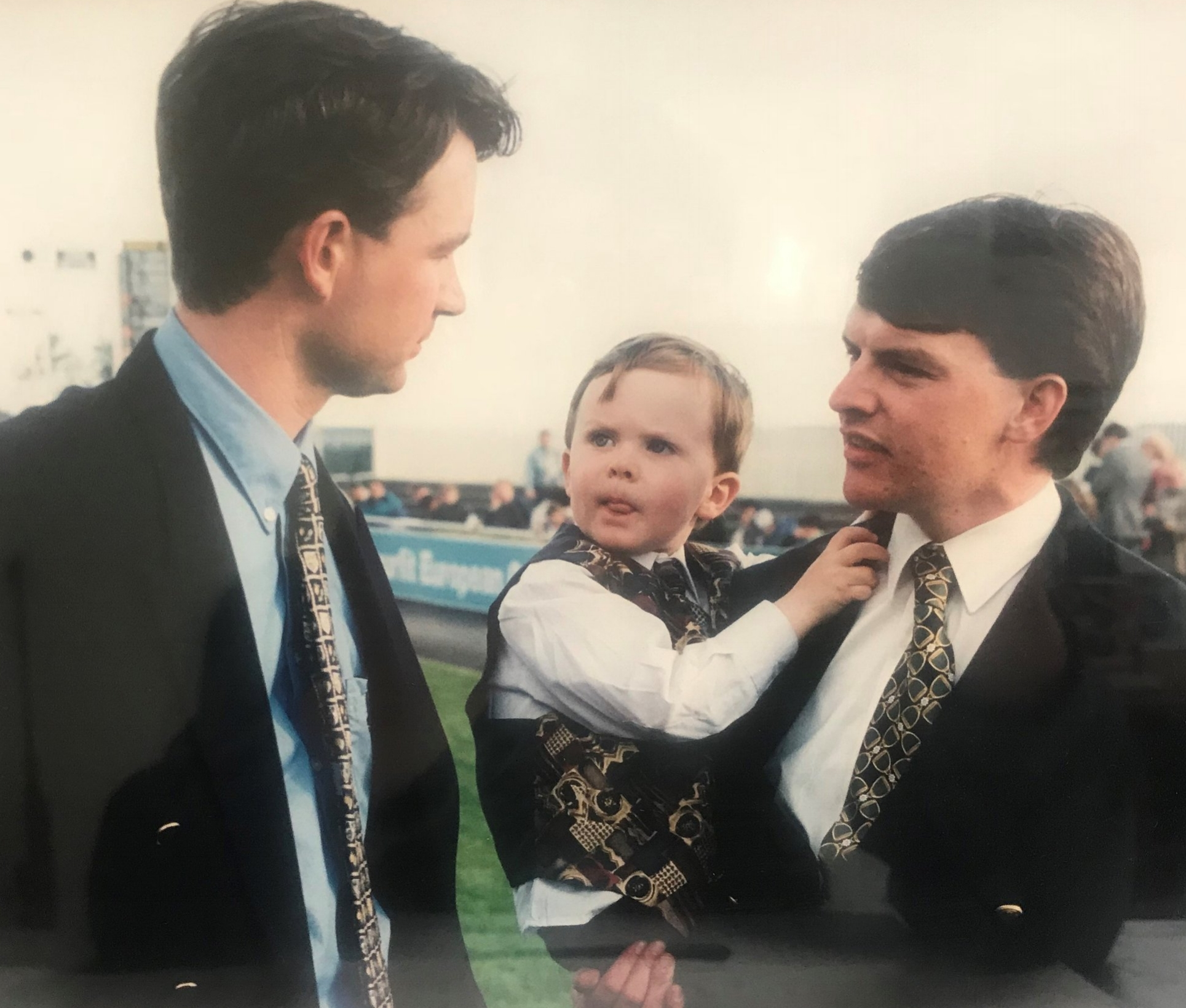 Matthew with Aidan O'Brien at the Curragh in 1996. Who would have dreamed Aidan's young son Joseph would achieve a unique racing double. He rode the winner of the 2012 English Derby, Camelot and trained Rekindling to win last years Melbourne Cup.