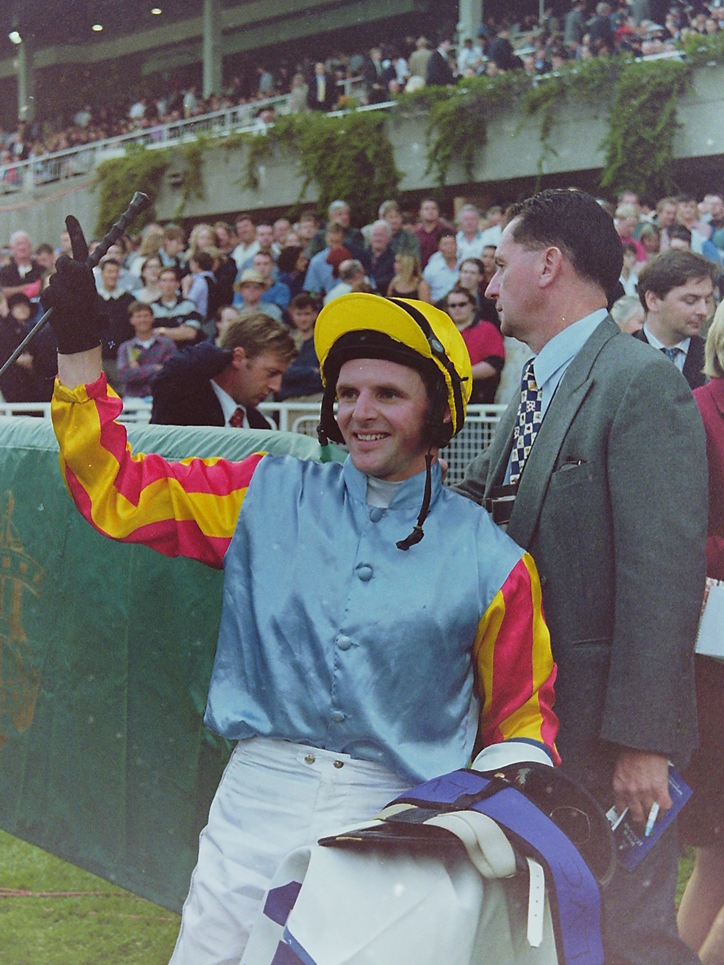 Image Courtesy of Steve Hart Photographics -He's as happy as Larry after Sunline's Doncaster win 1999