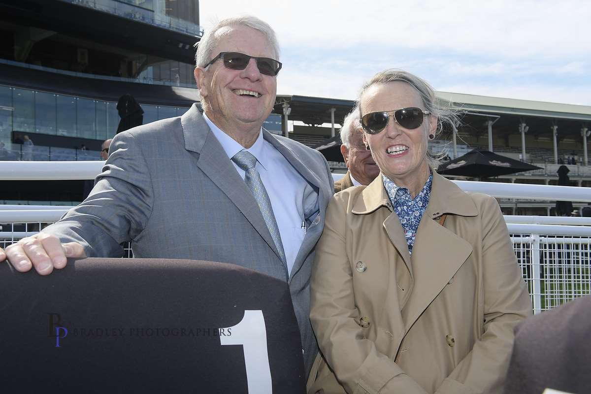 Image Courtesy of Bradley Photos -A very happy Bruce McHugh with Lisa Sheppard at Randwick