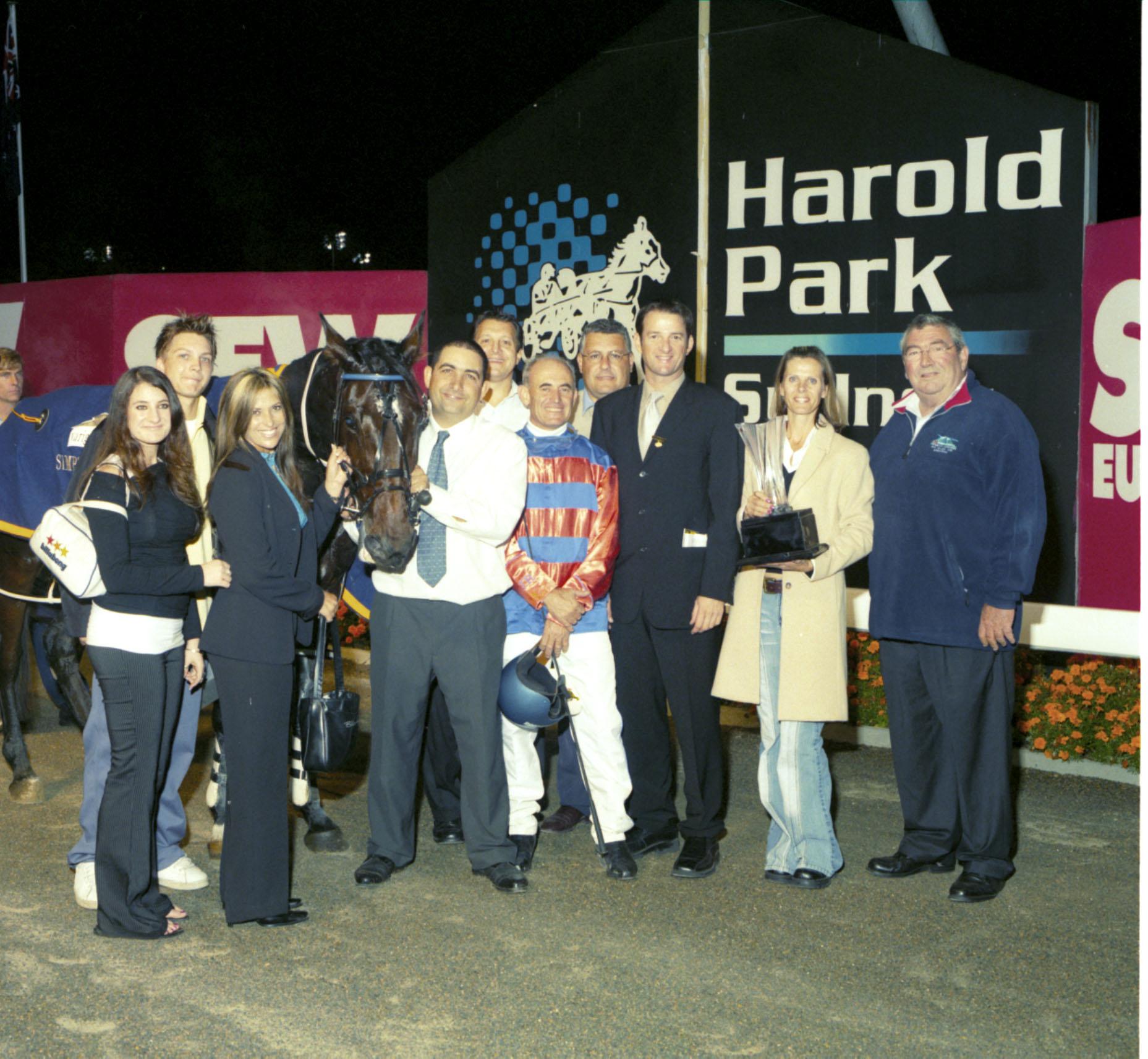 Image courtesy of Harness Racing NSW - Joe, Mary and Amanda at the presentation after Howard Ino's Simpson Sprint win