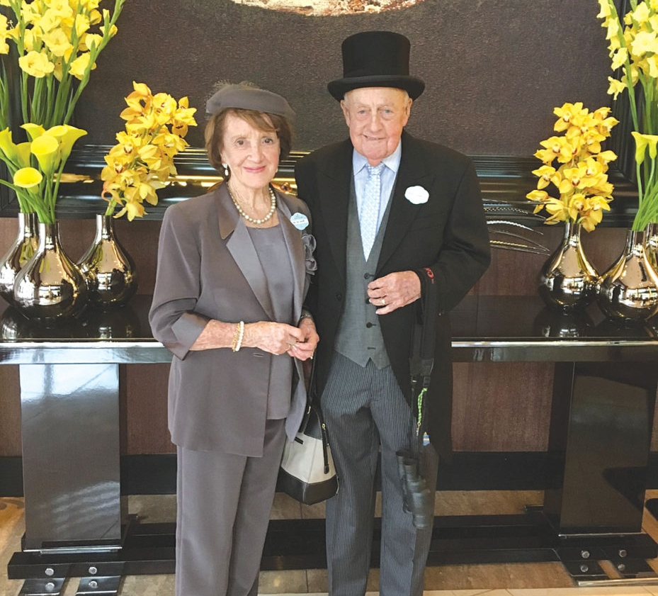 Mr and Mrs Tom Sewell about to leave their hotel for Royal Ascot 2016.