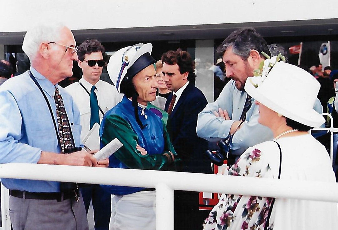 Arthur Menzies and Keith with the iconic jockey Lester Piggott 1995