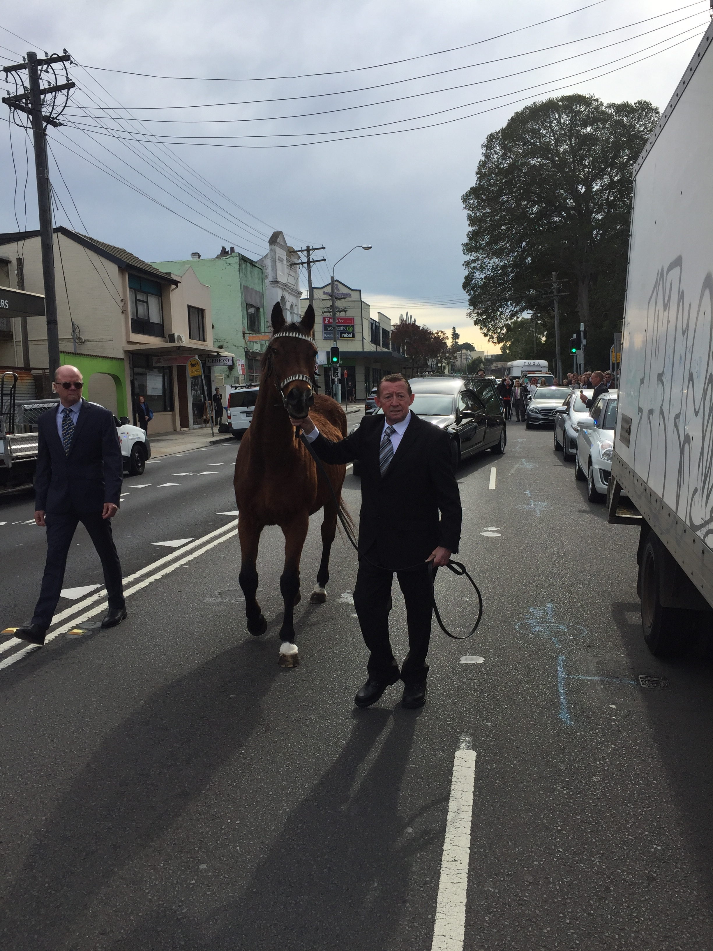 Stony leads the funeral procession.