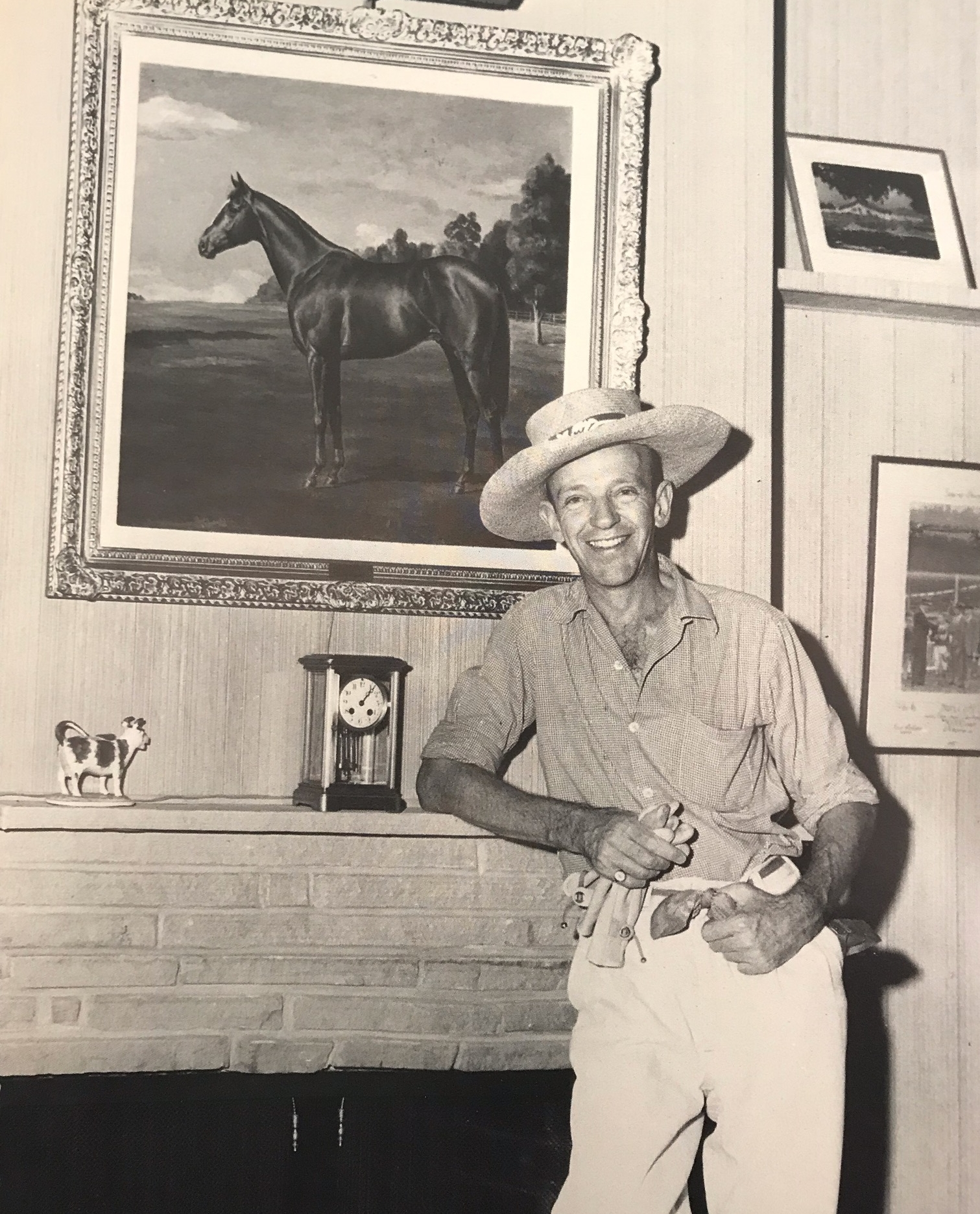Fred at his Blue Valley Ranch 1947 - Triplicate with pride of place above the mantle shelf
