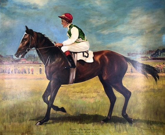 Oil painting of Bill and Regal Problem after a Cessnock Cup win. Winner was trained by Norm Collins Snr.