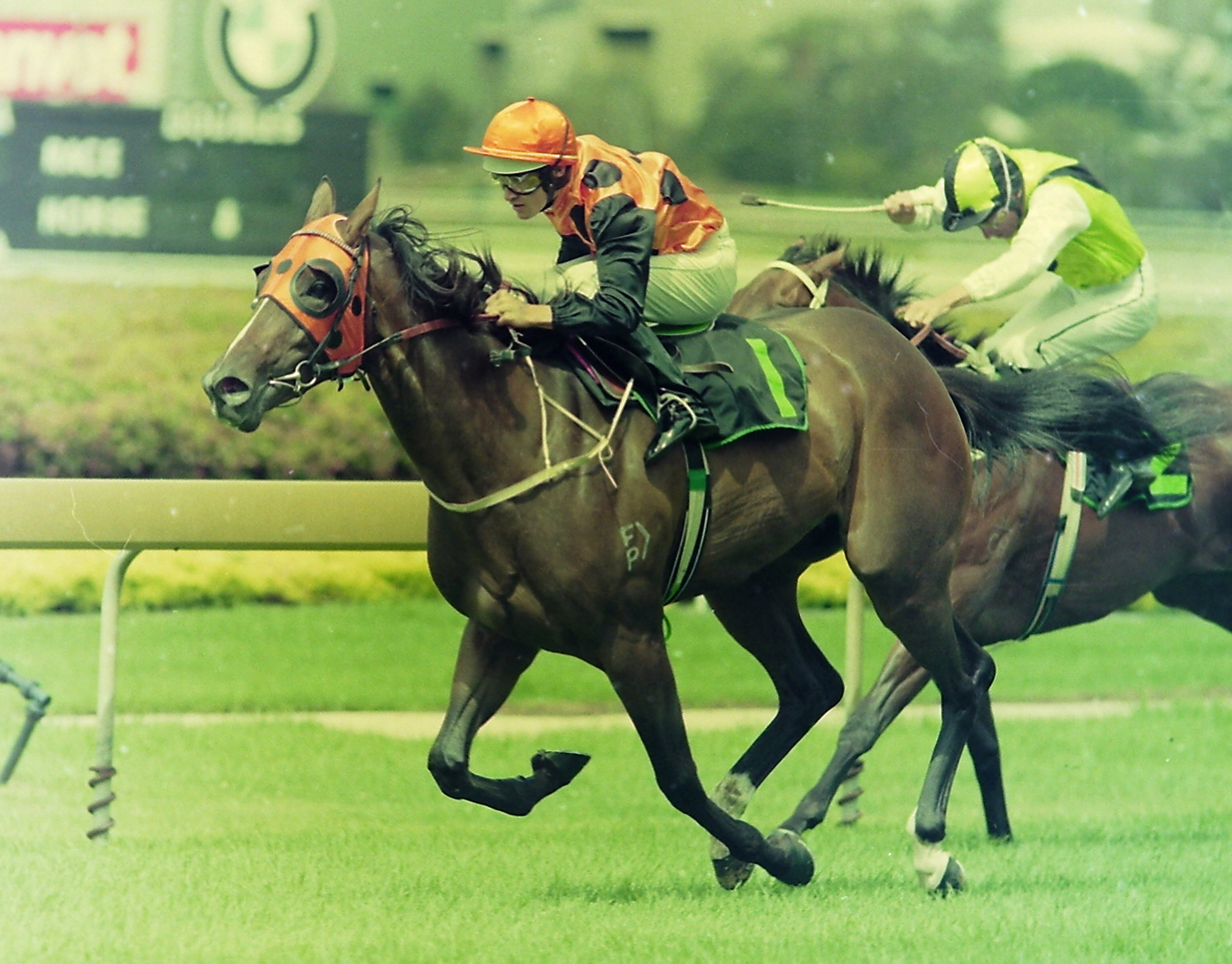 Image courtesy Steve Hart Photographics - Moment's Pleasure and a very young Corey Brown winning the Reisling Slipper Trial.