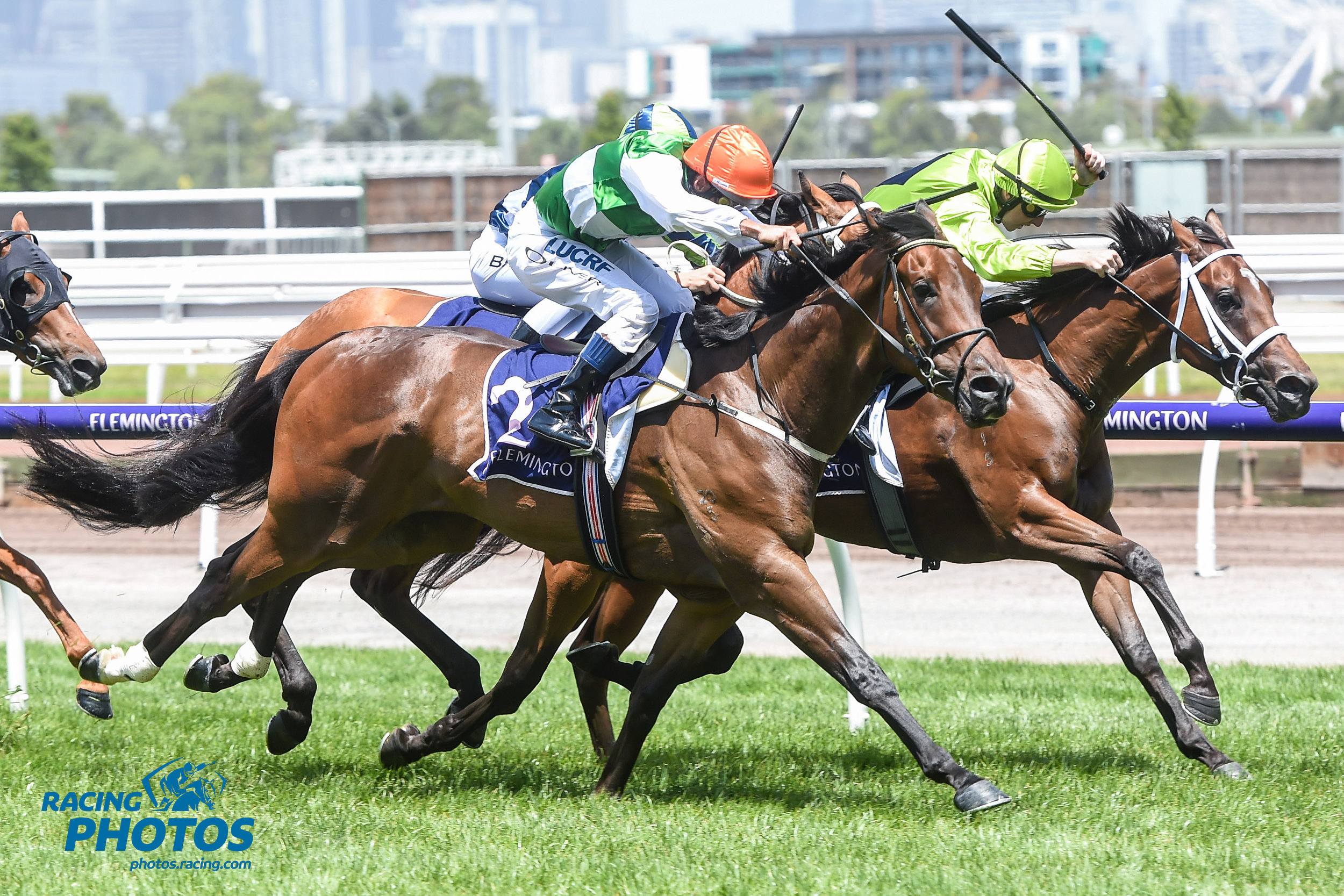 Image courtesy Racing Photos - O'Tauto gets up in the last stride at Flemington on Saturday (12/01/2019).