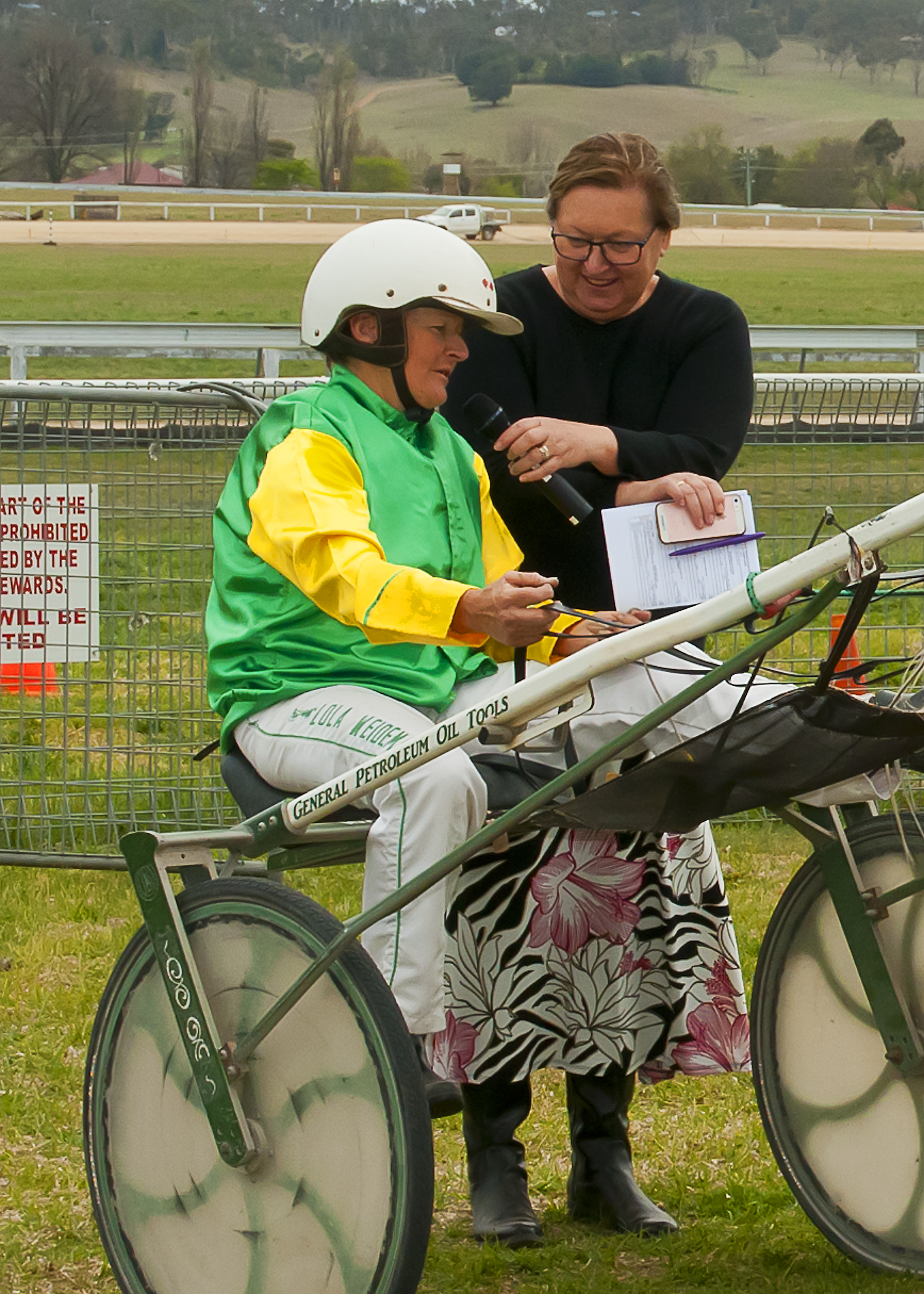 Image courtesy PeterMac Photography - Lola is interviewed by Julie Maughan - Chairperson Tamworth Harness Racing Club.