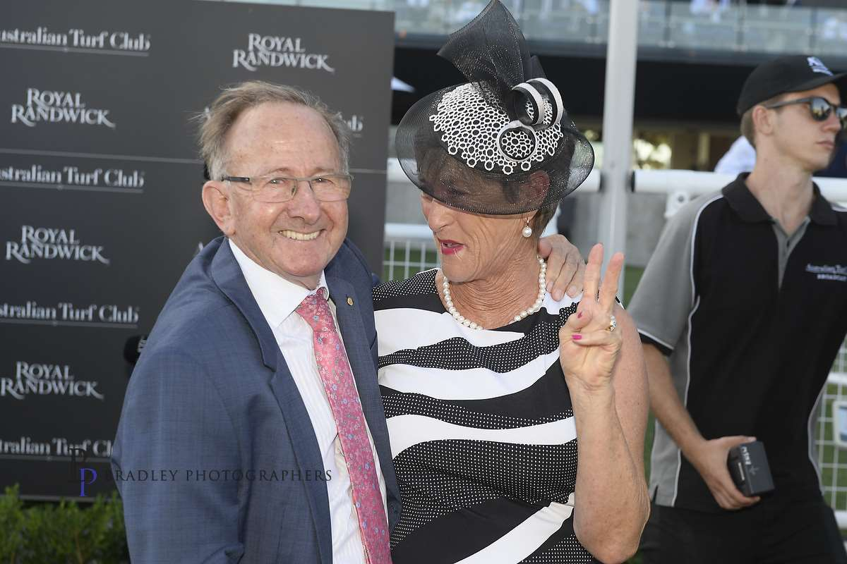 Image courtesy Bradley Photos - Ron Quinton with Wendy Walter after Dixie's win in the 2017 Guy Walter Stakes.