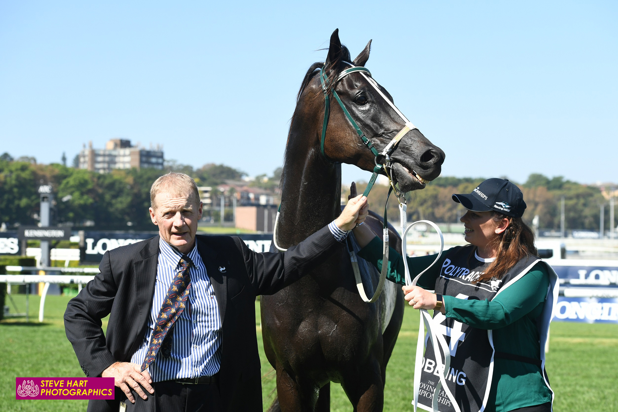Image courtesy Steve Hart Photographics - A proud Bernie with Bobbing after the Championship final at Randwick.