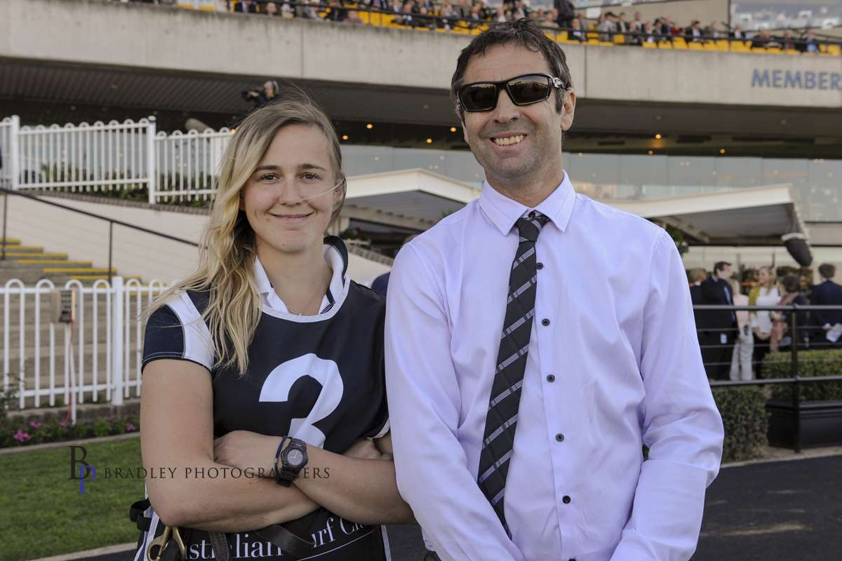 Image courtesy Bradley Photographers - Gary and Samara after the Rosehill win by Highly Geared.