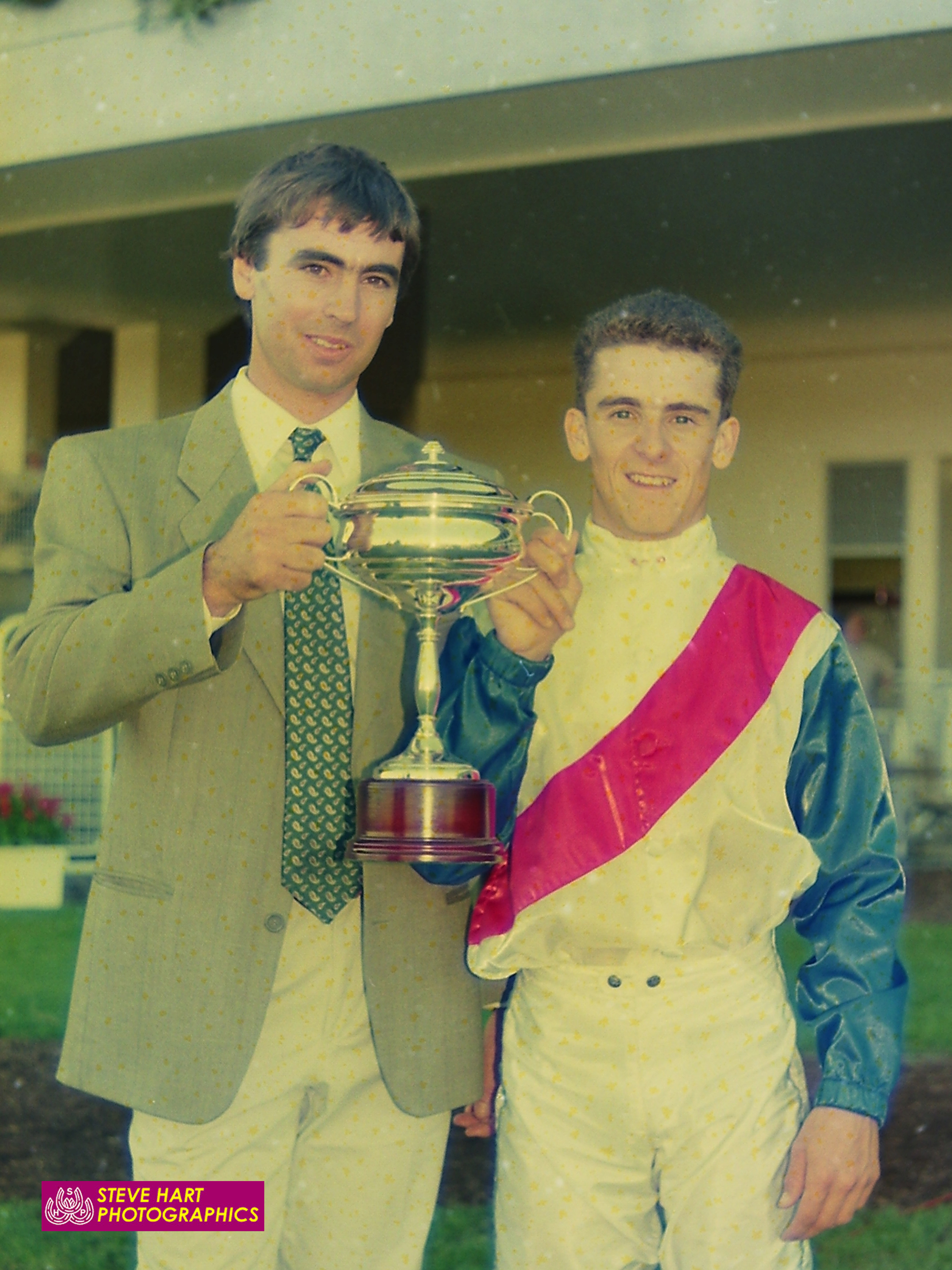 Image courtesy Steve Hart Photographics - A youthful Garry Kirkup, with Adrian Robinson, after Grillita's win in the 1991 Country Cup.