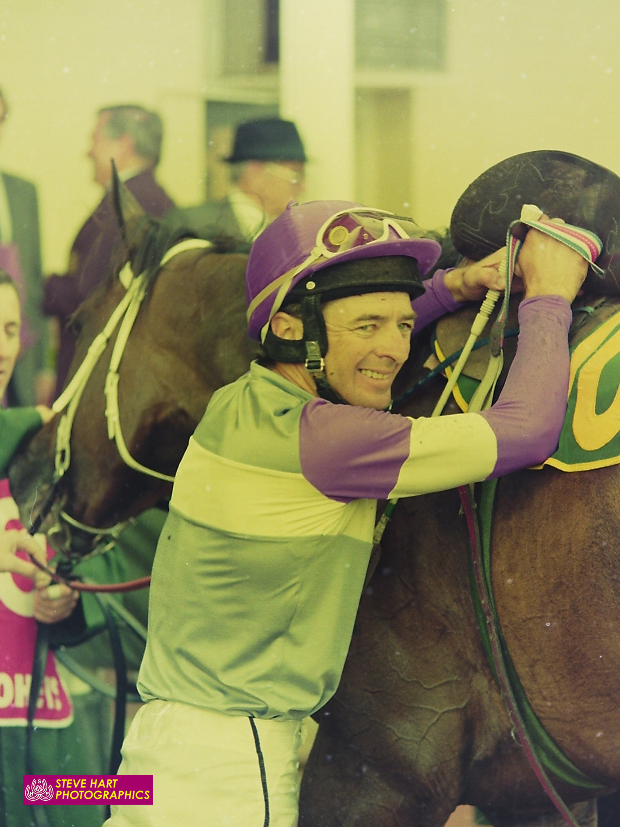 Image courtesy Steve Hart Photographics - Alan Scorse unsaddles Spanish Mix after winning the Challenge Stakes 1993.