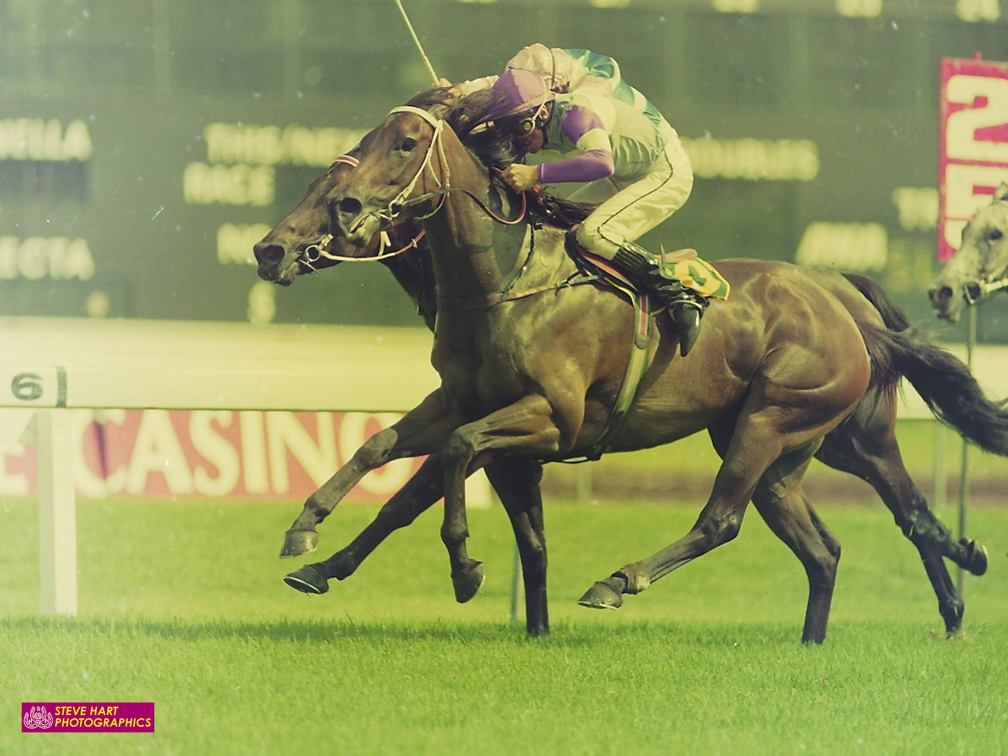 Image courtesy Steve Hart Photographics - Groovy wins the 1993 Challenge Stakes on Spanish Mix.