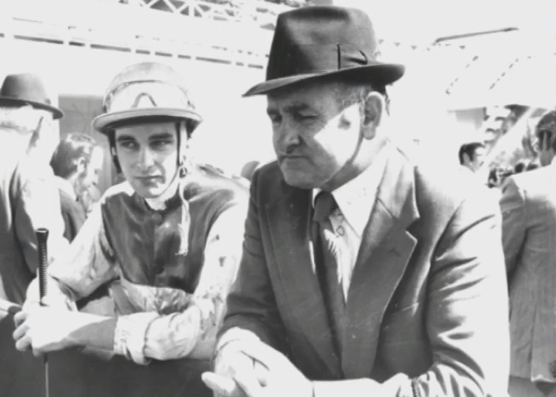 Allan and Jack Denham in pensive mood before a race at Rosehill early 1970s.