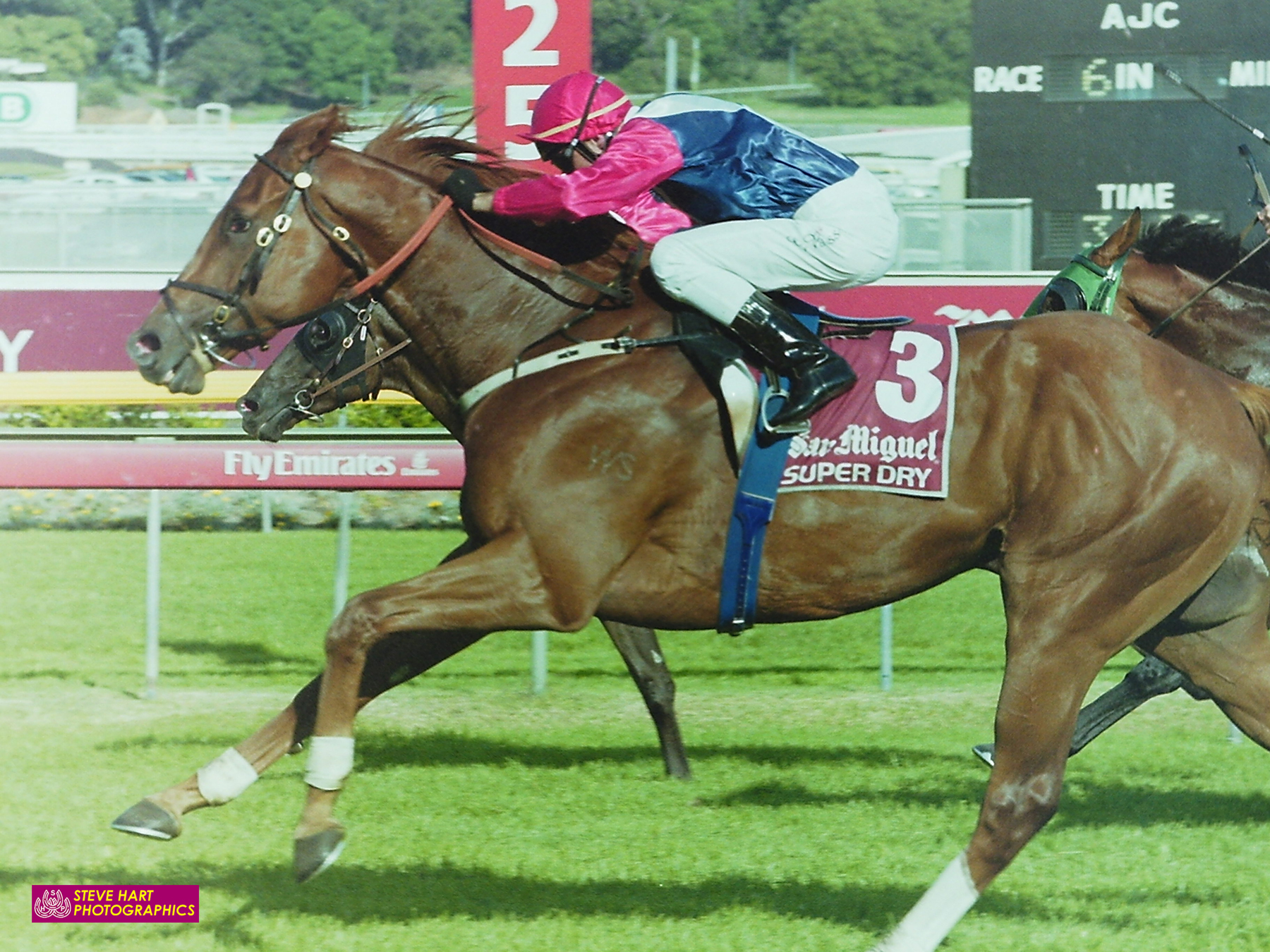 """Image courtesy Steve Hart Photographics - Starcraft gets up to beat """"the bolter"""" Braeloch, in the 2004 Australian Derby."""