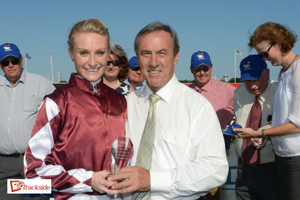 Image courtesy Trackside Photography - Priscilla after Tinto's win with Larry Olsen who presented the Sky Racing Trophy.